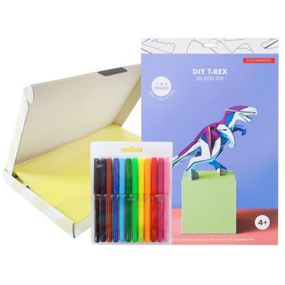 Brievenbuscadeau - T-Rex 3D Kids Kleurpakket