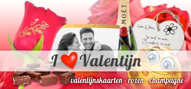 Valentijn rozen, valentijnskaarten en champagne